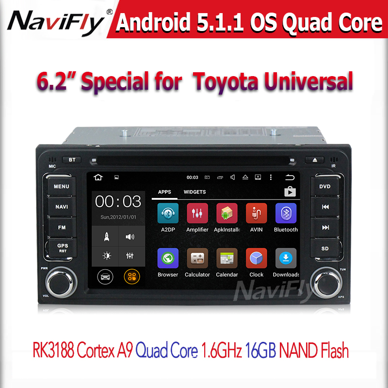 6.2'' 2 din car dvd player for toyota universal Android 5.1.1 Quad core with BT GPS WIFI radio 1GB RAM 16G nand