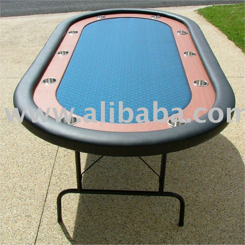 "Premium 84"" Oval Blue Suited Speed Cloth Poker Table w / Racetrack & Jumbo Stainless Steel Cups"