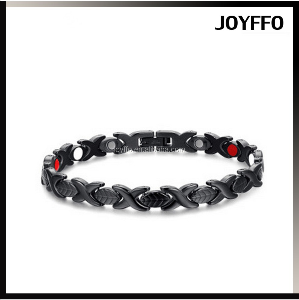 Anti-radiation Men's Black Titanium Stainless Steel Magnetic Health Therapy Care Bracelet Gift