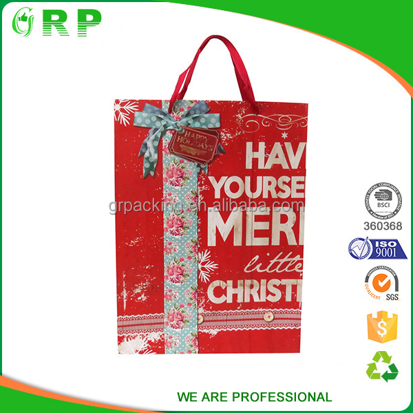 Large capacity market promotional handled advertisement paper gift bag