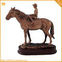 Plated horse shaped resin trophy, bronze horse sculpture