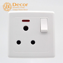 BS British standard air-condition BS546 standard grounded 3 round pin 15A switched socket with neon indicator