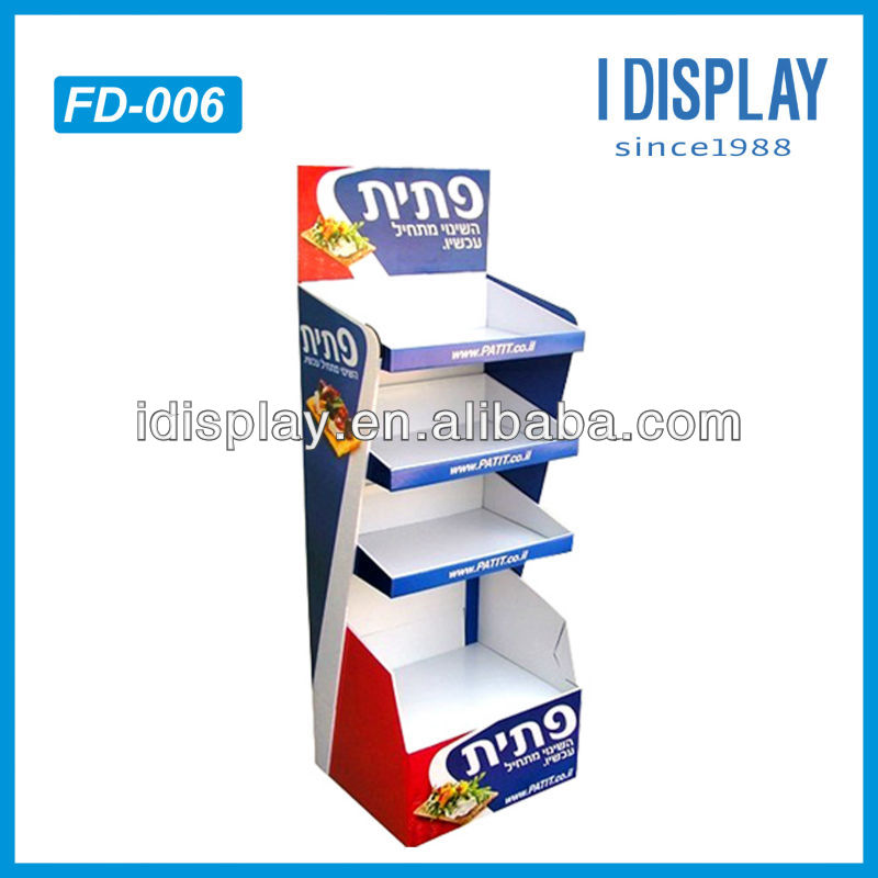 4 tier cardboard paper display stand for books paper material cardboard display rack