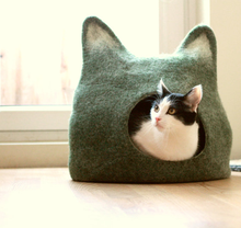 Pet Cat bed cave house - eco-friendly handmade felted wool - natural grey with natural light