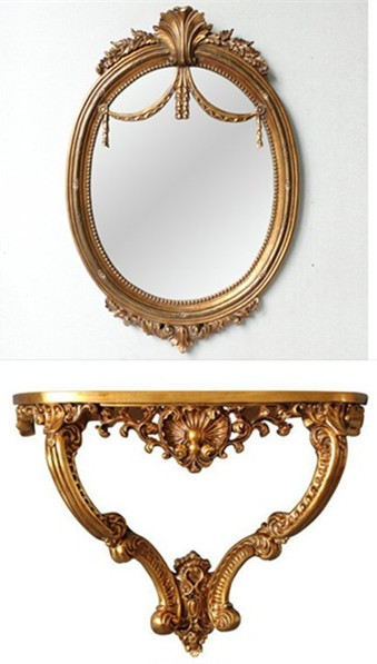 Antique Victorian gold color living room console table and mirror set