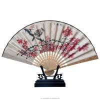 Hand fan with chinese flower picture/bamboo frame cover grass linen hand fan for party decoration