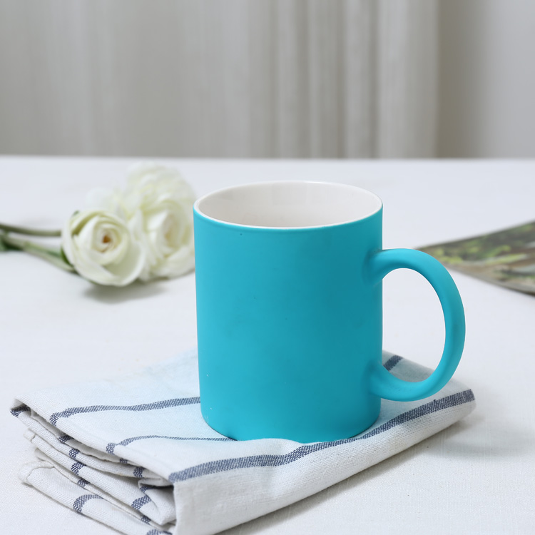 High quality soft touch silicon coating colorful ceramic 11oz sublimation mugs