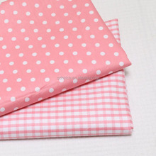 Hot selling 100% cotton weave check dots print fabric for children