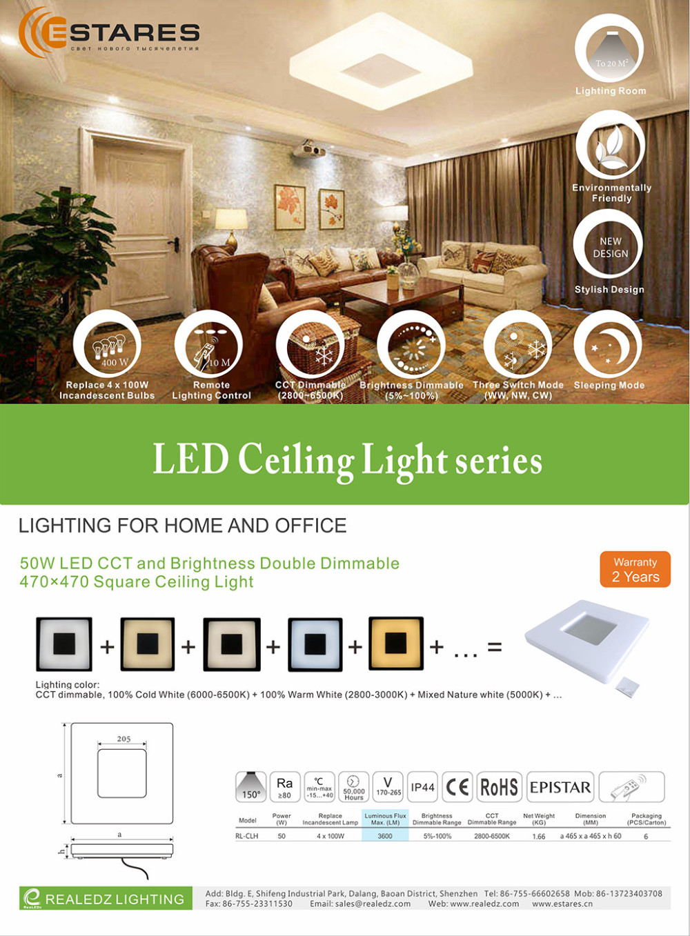 New innovation interior diamond shape LED ceiling mount light with dimmable