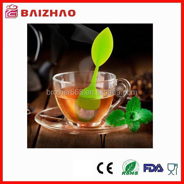 Food Grade Silicone Leaf Handle tea leaf infuser - Stainless Steel Strainer Filter with drip tray(green)