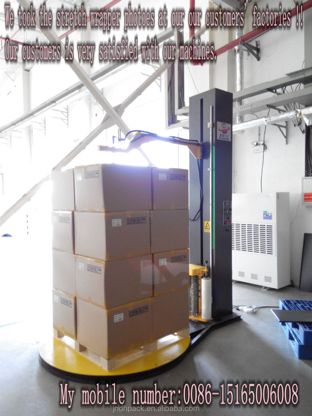Pre-stretch film carriage T1650F-CS automatic pallet wrapping machine with top plate/Top press Pallet Wrapping Machine