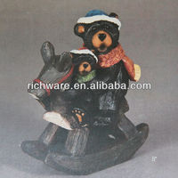 Polyresin Christmas Bears on Rocking Horse for Home Decoration