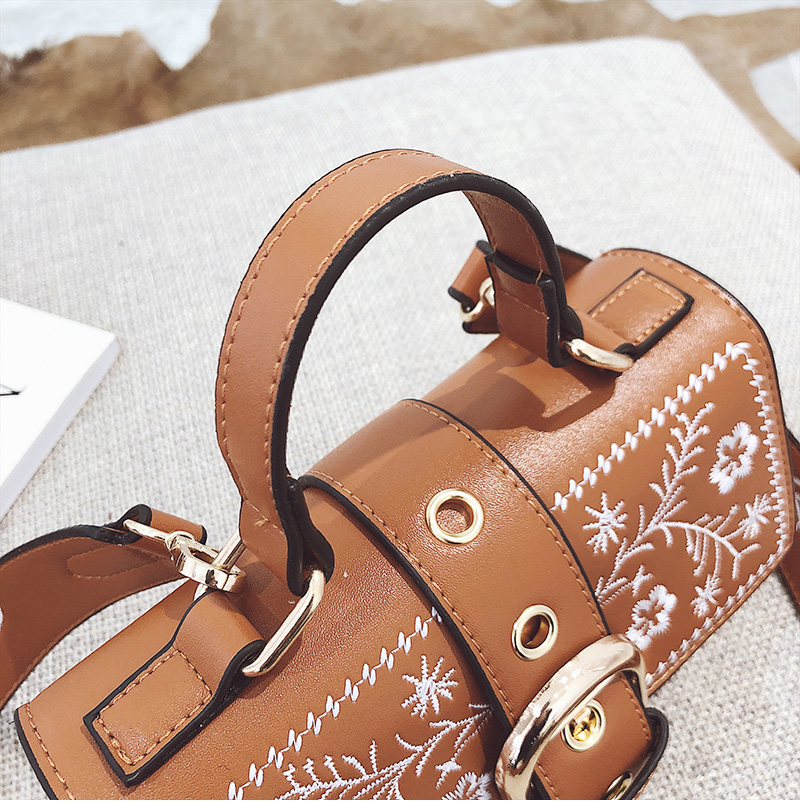 Toposhine Fashion Women Bag Panelled Vintage Flower Girls Bags for Girls Black PU Leather Women Messenger Bags Drop Shipping 16