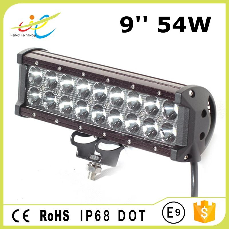 "9"" 54W LED Work Light Bar Flood Spot Combo 3W CREE Chips 9-32V for Off-road Vehicle Pickup Car SUV Truck"