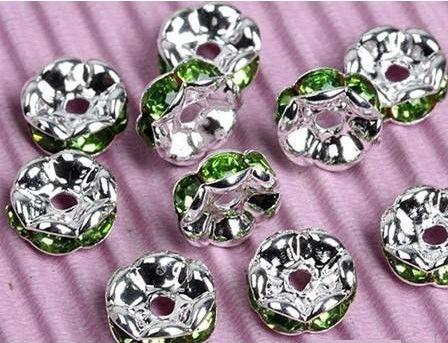 10mm grass green jewelry rhinestone spacer bar