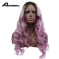 Anogol 3 Tones Purple Mix Grey Ombre Dark Roots Natural Long Body Wave Middle Part Synthetic Lace Front Wigs For Drag Queen