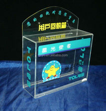 Customized transparent acrylic donation boxes with lock and chain
