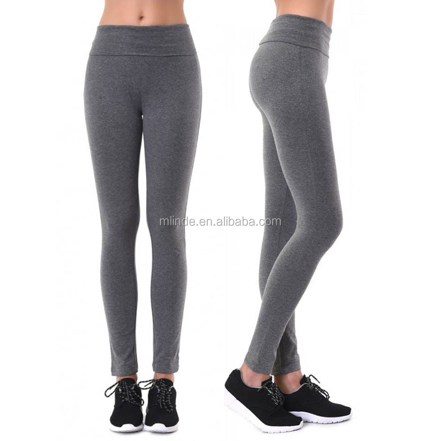 Wholesale Slimming Leggings Supplier India 95% Cotton 5% Spandex Solid PLAIN YOGA LEGGINGS Women In Black Tights Pics