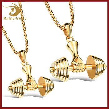Gold plated Stainless Steel Inspirational Dumbbell Pendant Bodybuilding Fitness Jewellery Gym Men Necklace Hip Hop Jewelry
