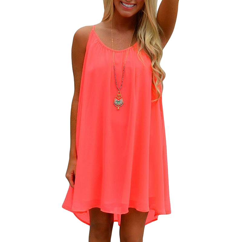 2015 New Woman Summer Chiffon beach Spaghetti strap Dress Ladies Sleeveless O Neck Solid Loose Mini Orange Casual Dresses
