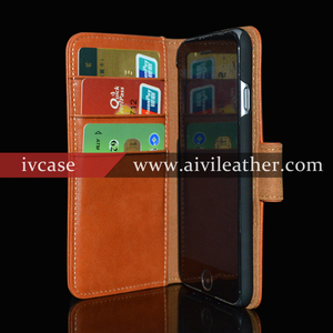 Full Protect Design Wallet Cards Cover For Iphone 6 Plus Real Leather Case With Magnetic Closure