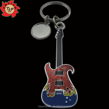 guitar shaped metal key chain metal PVC keychain