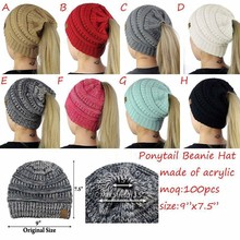 A031 hot sale new female Ponytail Beanies winter wool hat girl ponytail hat woman winter warm knitting crochet beanie hat