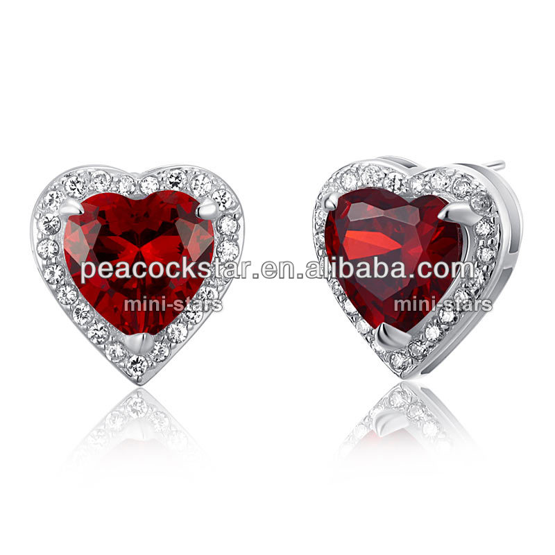 CFE8022 Wholesale Sterling 925 Silver 3 Carat Simulated Red Ruby Heart Stud Earrings