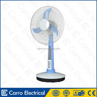 12V 16'' table fan with battery charge able with LED night light(Adapter outside)