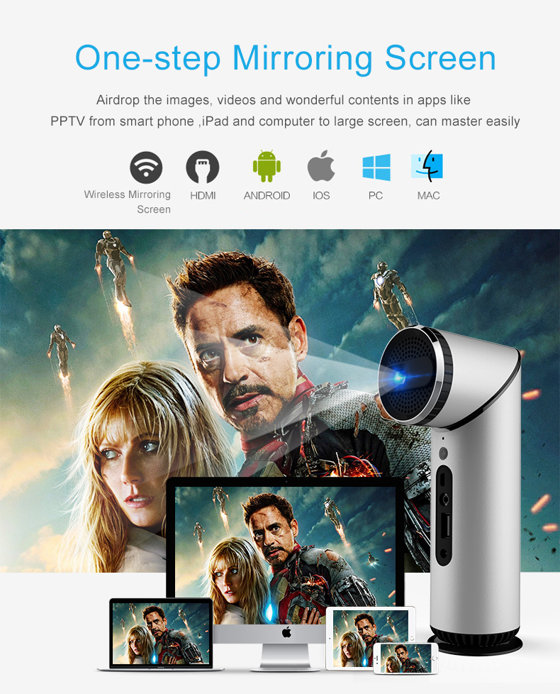 Unique design 1000 lumens home projector Android 5.1 dlp projector 1080P hd led watch phone projector