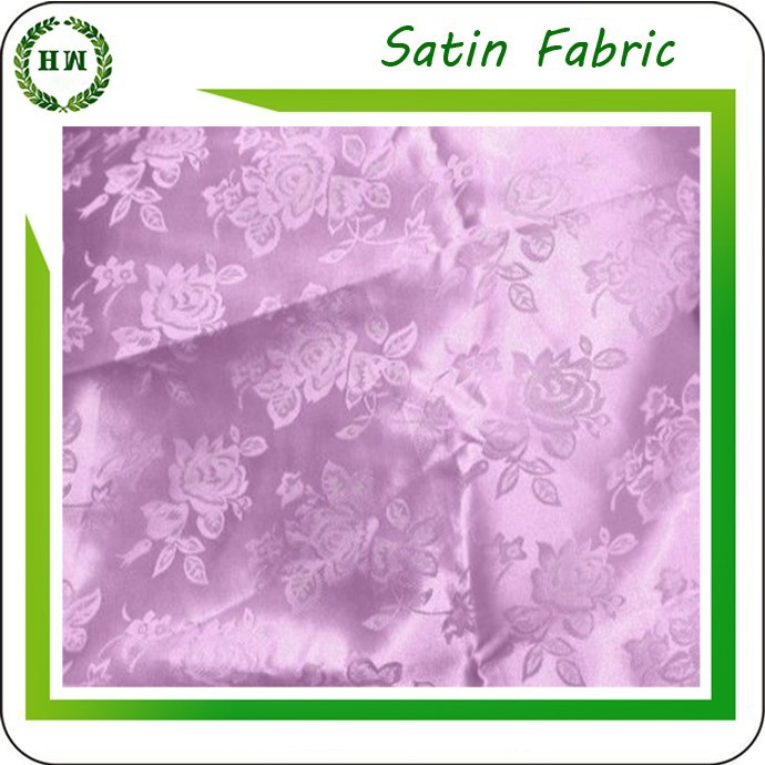 Hongway 100% polyester satin jacquard fabric, Polyester satin Fabric for Home Textile