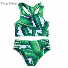 Tankinis Bandage Padded Custom Printed Leaf Block high neck high waisted bikini