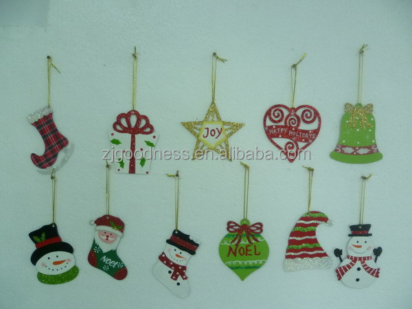 11 Metal Christmas Tree Ornaments Gift Star Sled Bell Heart Snowman Miniatures
