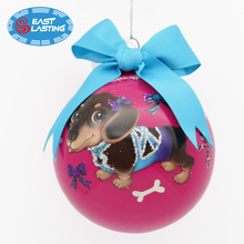 90mm Personalized Multi Design Hand Painted Pet Dog Portrait Glass Christmas Ball for Pet Loss Memorial