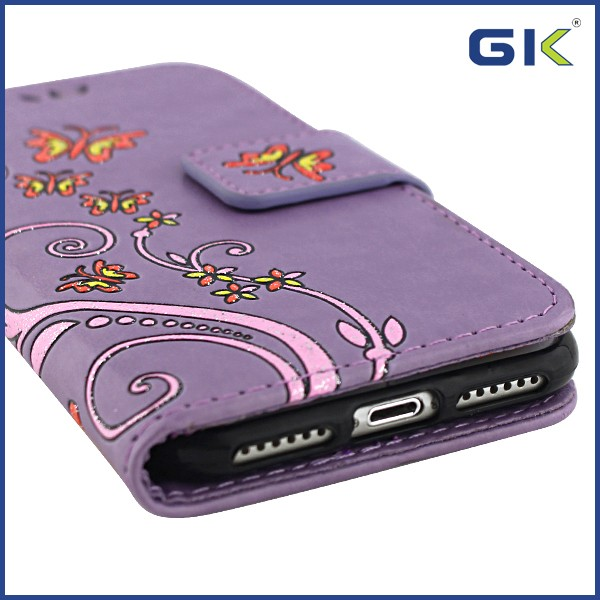 [GGIT] Flower With Butterfly Pattern Holster TPU+PU Flip Cover For IPhone 7 Leather Case