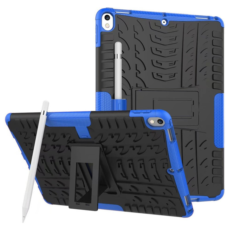 Shockproof tire grain stand case with for apple ipad 2 in 1 pc tpu solid stick case for ipad pro 12.9 10.5 and 9.7 inch