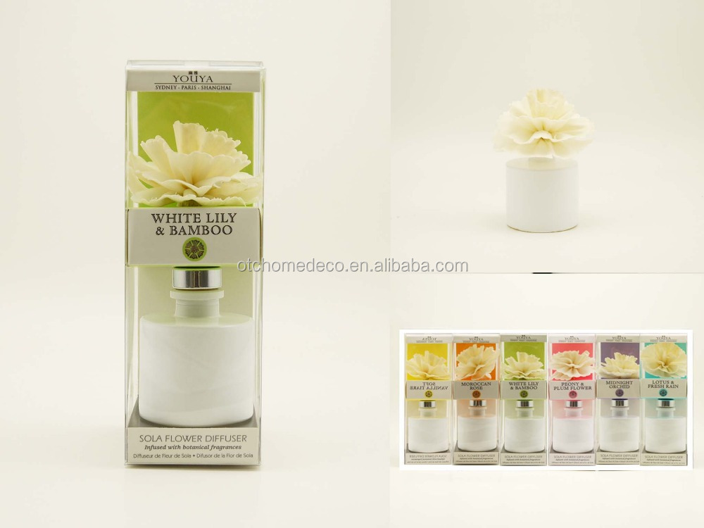 Aroma diffuser with solar flower for home decoration