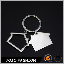 Hot sale house shaped keychain customized blank metal key chain