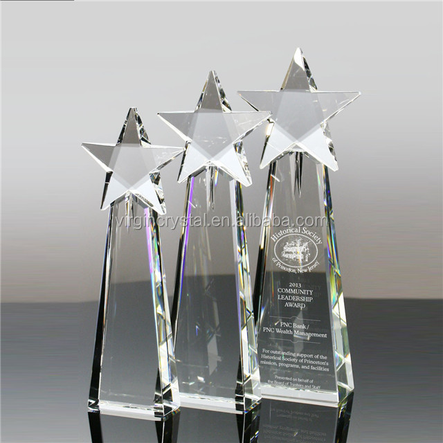 Crystal star trophy awards in new design for wholesale business gifts