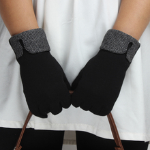 Wholesale fashion women thermal sexy velvet black knitted gloves