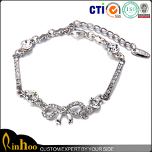 Attractive design bowknot and crystal charms chain white gold plating stardust bracelet