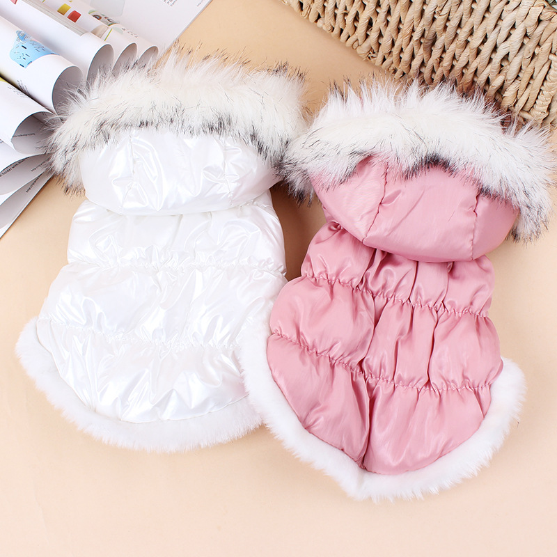 Cute Dog Cat Pet Down Jacket Coat,Fur Collar Winter Warm Dog Clothes