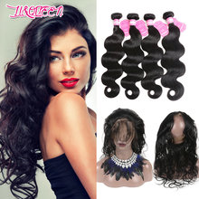 Aliexpress hair body wave brazilian human hair, brazillian hair 360 lace frontal closure with bundles