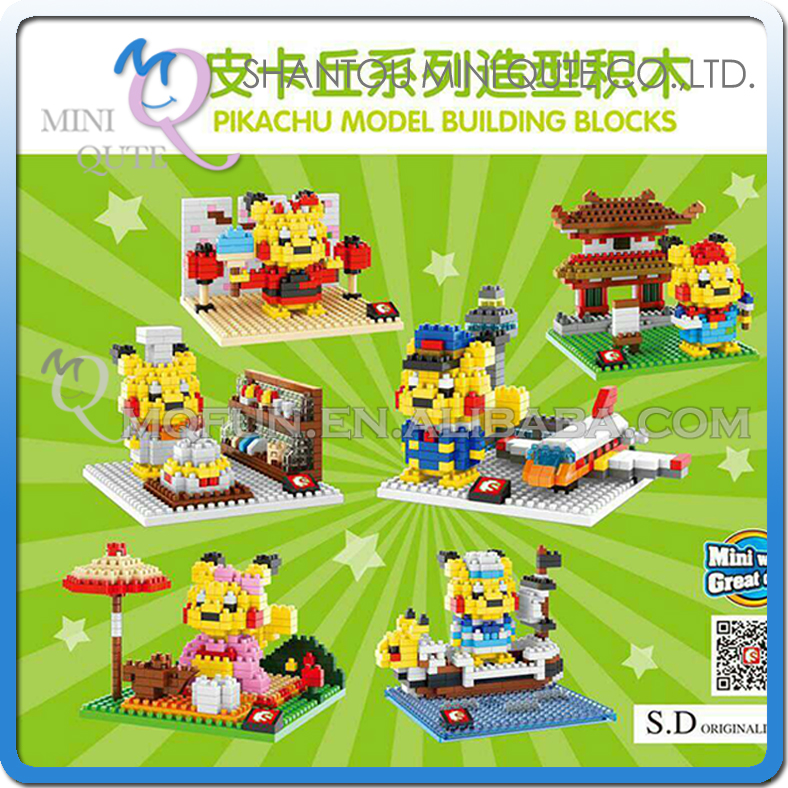 Mini Qute Sembo kawaii 6 styles amine pikachu diamond plastic building block model educational toy