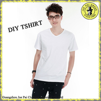 Custom V-neck Low Price Promotion Transfer Print Blank Mens tee shirts