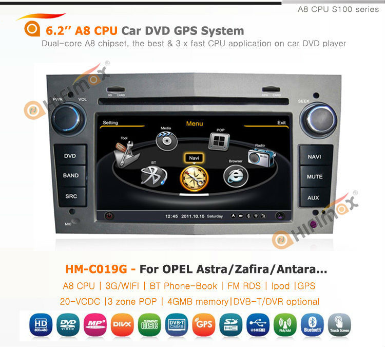 Hifimax double din car radio for opel zafira/car radio gps opel zafira/bluetooth car radio for opel zafira