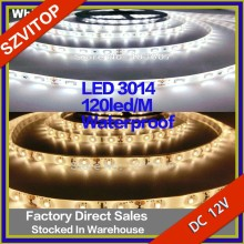 White/Warm White/Blue SMD 3014 LED Waterproof IP65 Flexible Strip Tape 120LED/M 5 Meter/Reel 600LED Single-sided Board Factory