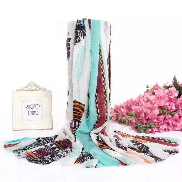 New Wholesale Women Long Slub Cotton Feather Print African Scarf