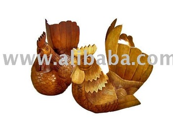 Wooden Chicken Animal Sculpture Wood Carving Thailand High Quality Handmade Antique Woodcraft