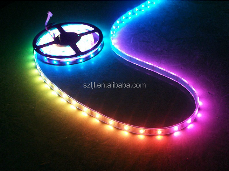 Shenzhen manufacturer DC5V 5050 144leds/m ws2812 ic led addressable rgb led strip